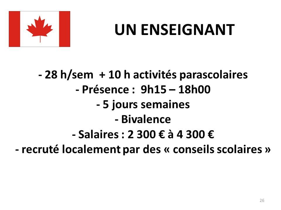 UN ENSEIGNANT - 28 h/sem + 10 h activités parascolaires