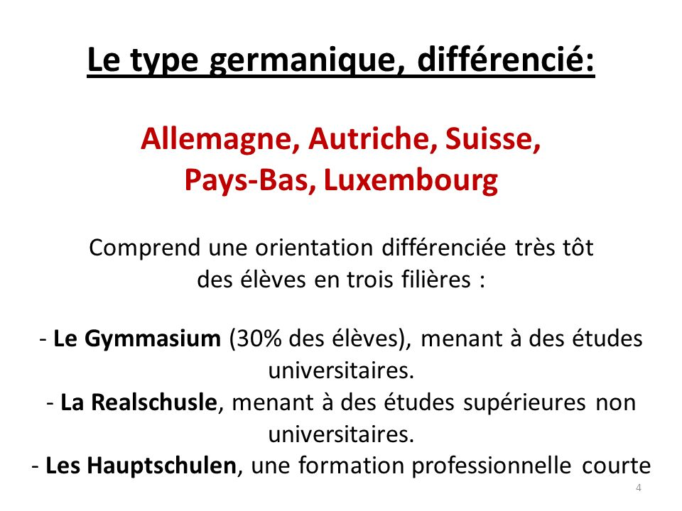 Le type germanique, différencié: Allemagne, Autriche, Suisse,
