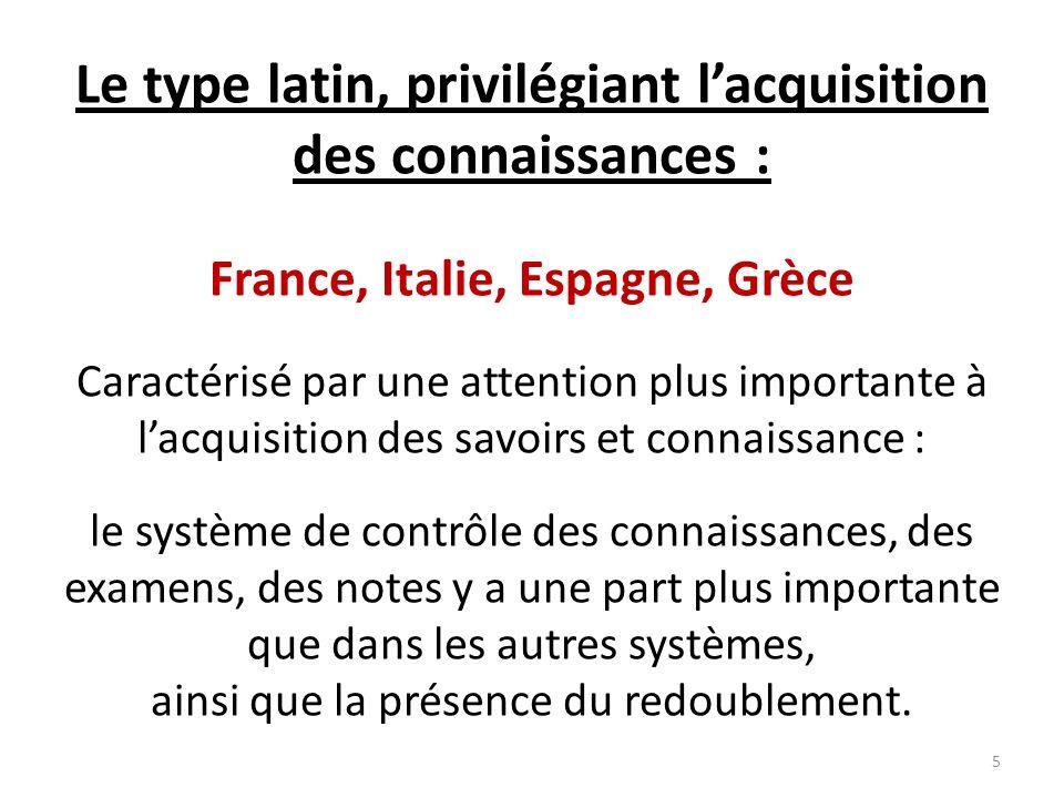 Le type latin, privilégiant l'acquisition des connaissances :