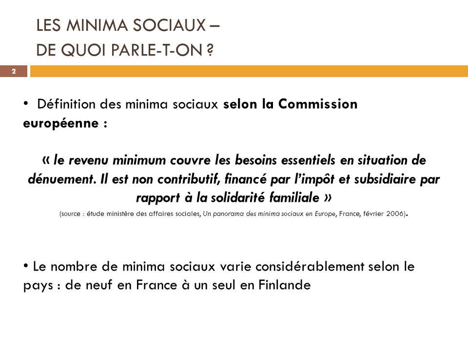 LES MINIMA SOCIAUX – DE QUOI PARLE-T-ON