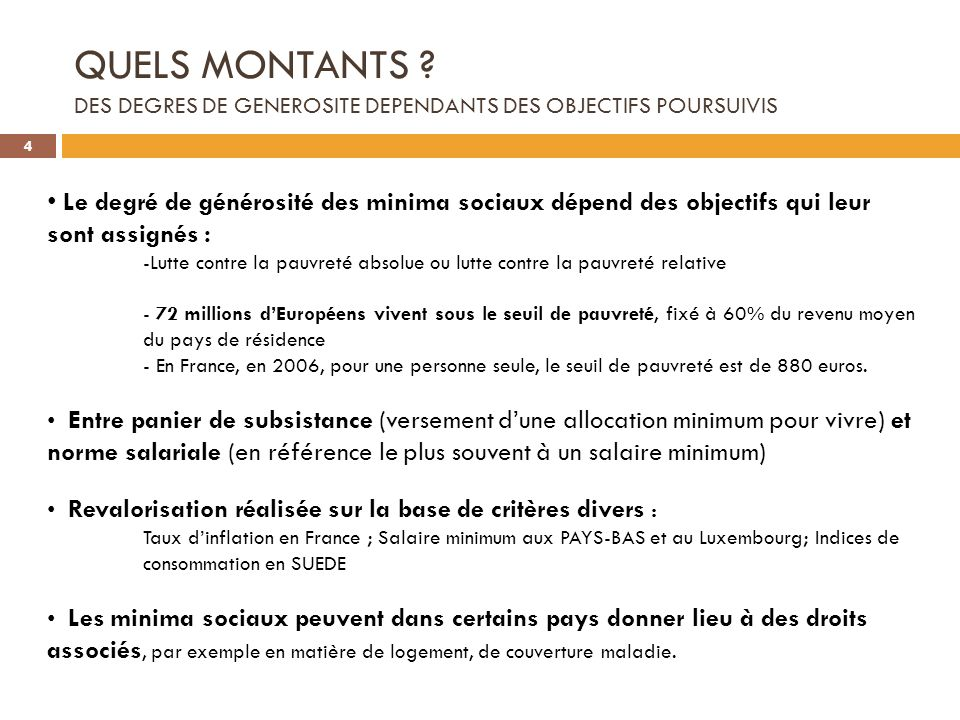 QUELS MONTANTS DES DEGRES DE GENEROSITE DEPENDANTS DES OBJECTIFS POURSUIVIS