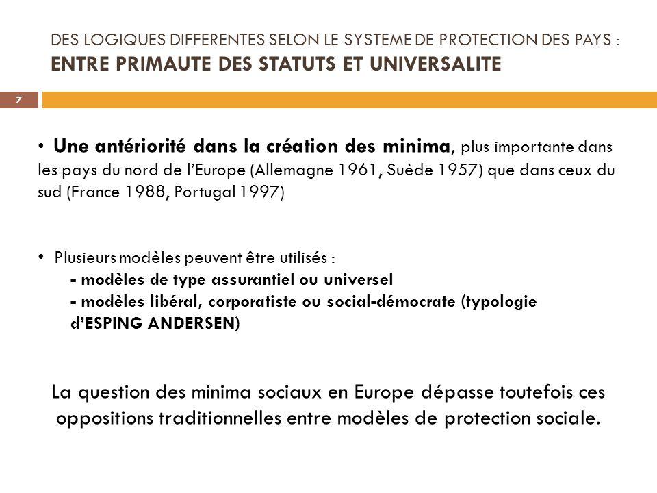 DES LOGIQUES DIFFERENTES SELON LE SYSTEME DE PROTECTION DES PAYS : ENTRE PRIMAUTE DES STATUTS ET UNIVERSALITE