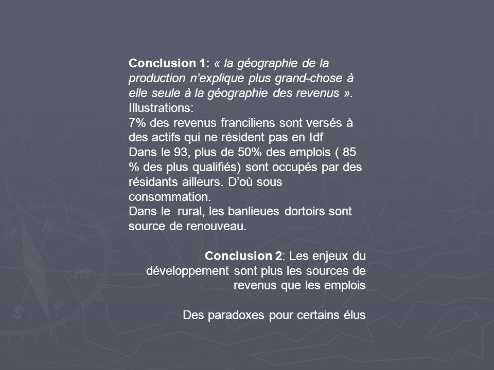 Conclusion 1: « la géographie de la production n'explique plus grand-chose à elle seule à la géographie des revenus ».