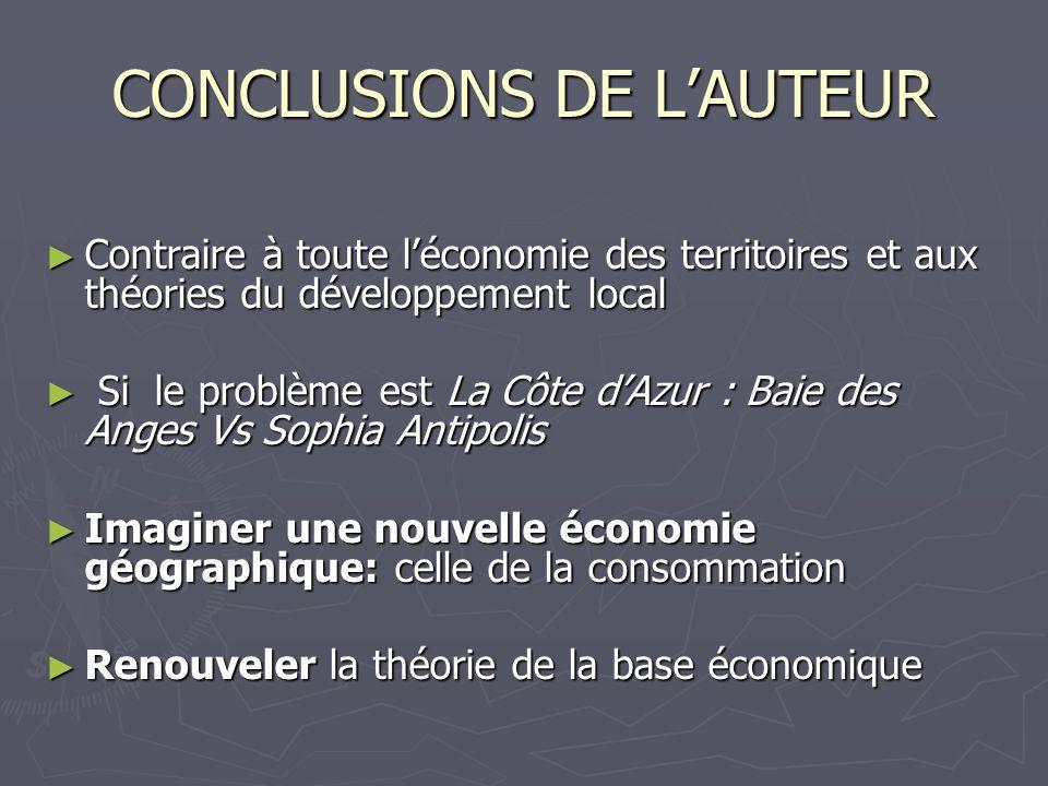 CONCLUSIONS DE L'AUTEUR
