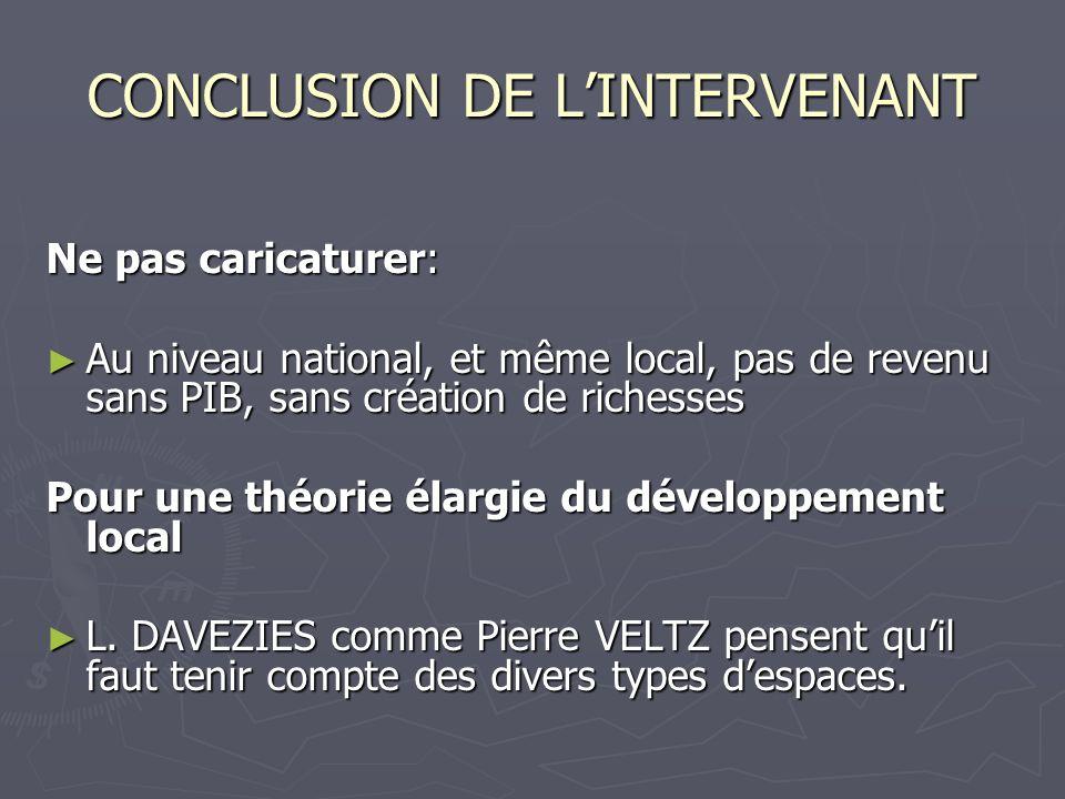 CONCLUSION DE L'INTERVENANT