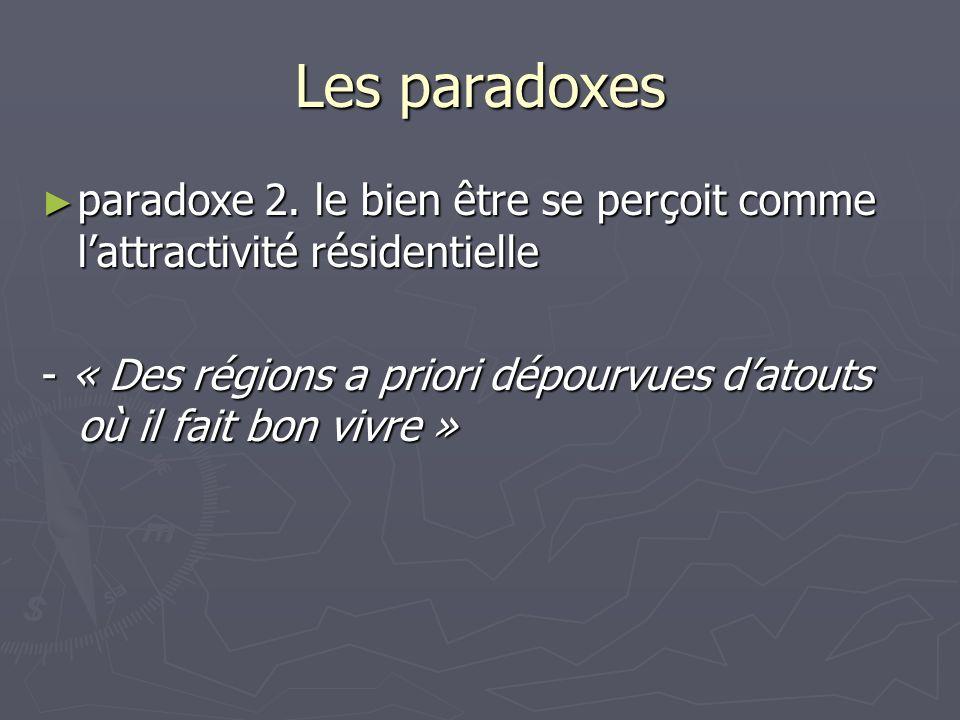 Les paradoxes paradoxe 2. le bien être se perçoit comme l'attractivité résidentielle.