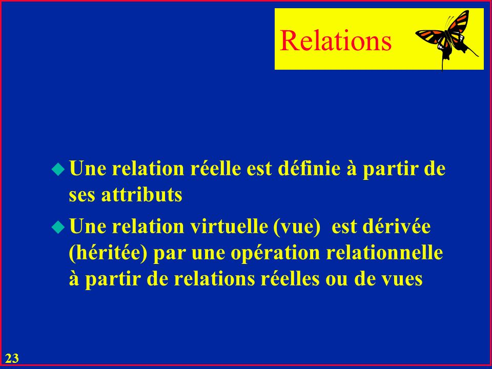 Relations Une relation réelle est définie à partir de ses attributs