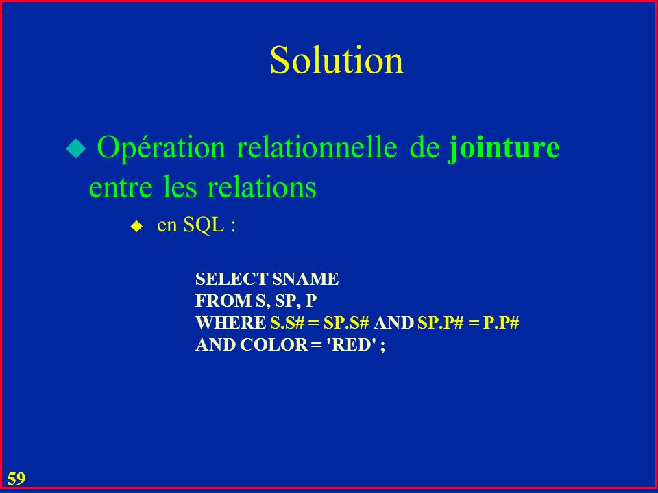 Solution Opération relationnelle de jointure entre les relations