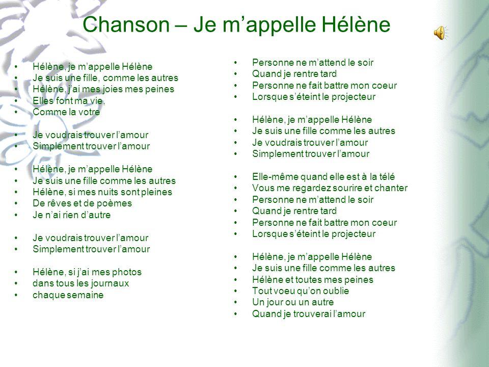 Chanson – Je m'appelle Hélène