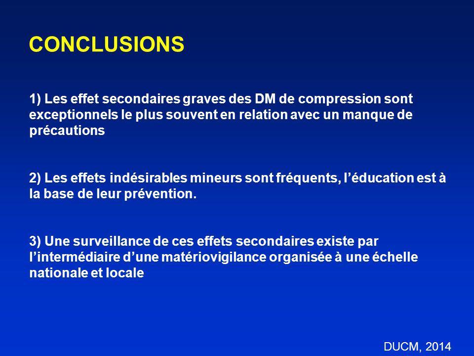 CONCLUSIONS 1) Les effet secondaires graves des DM de compression sont exceptionnels le plus souvent en relation avec un manque de précautions.
