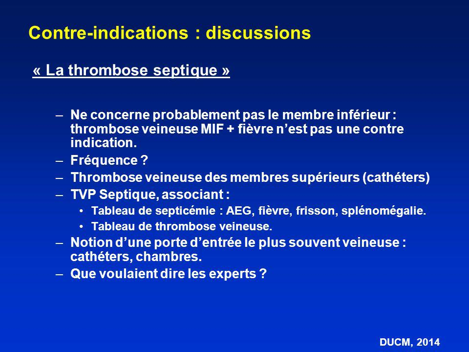 Contre-indications : discussions