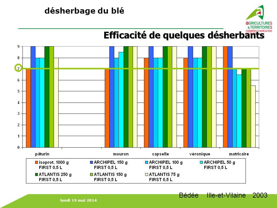 Efficacité de quelques désherbants Bédée Ille-et-Vilaine 2003