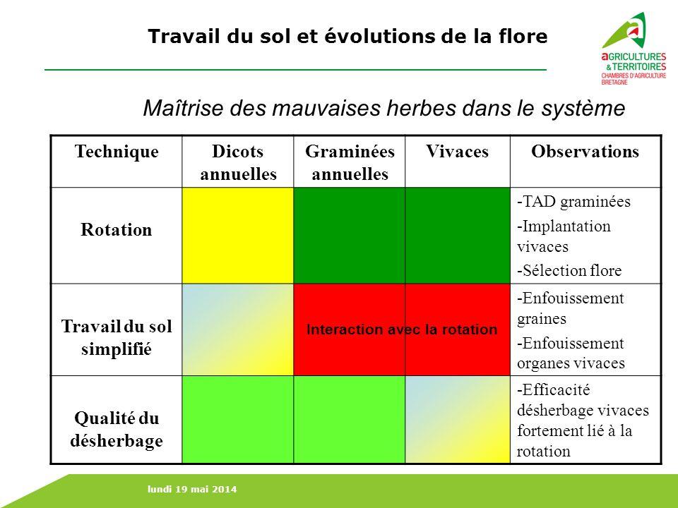 Travail du sol et évolutions de la flore Travail du sol simplifié