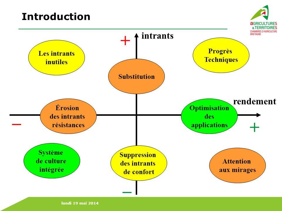 + _ + _ Introduction intrants rendement Progrès Techniques