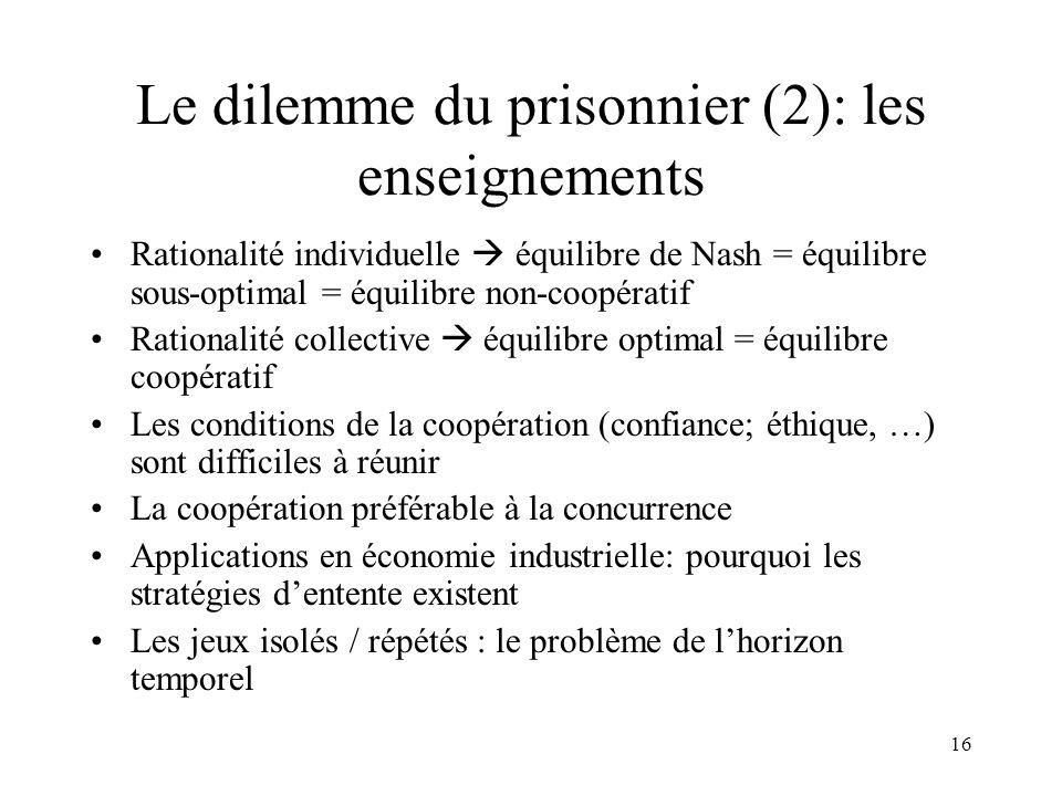Le dilemme du prisonnier (2): les enseignements