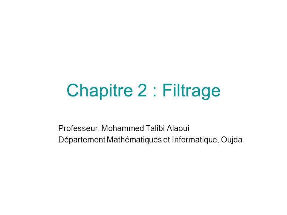 Chapitre 2 : Filtrage Professeur. Mohammed Talibi Alaoui