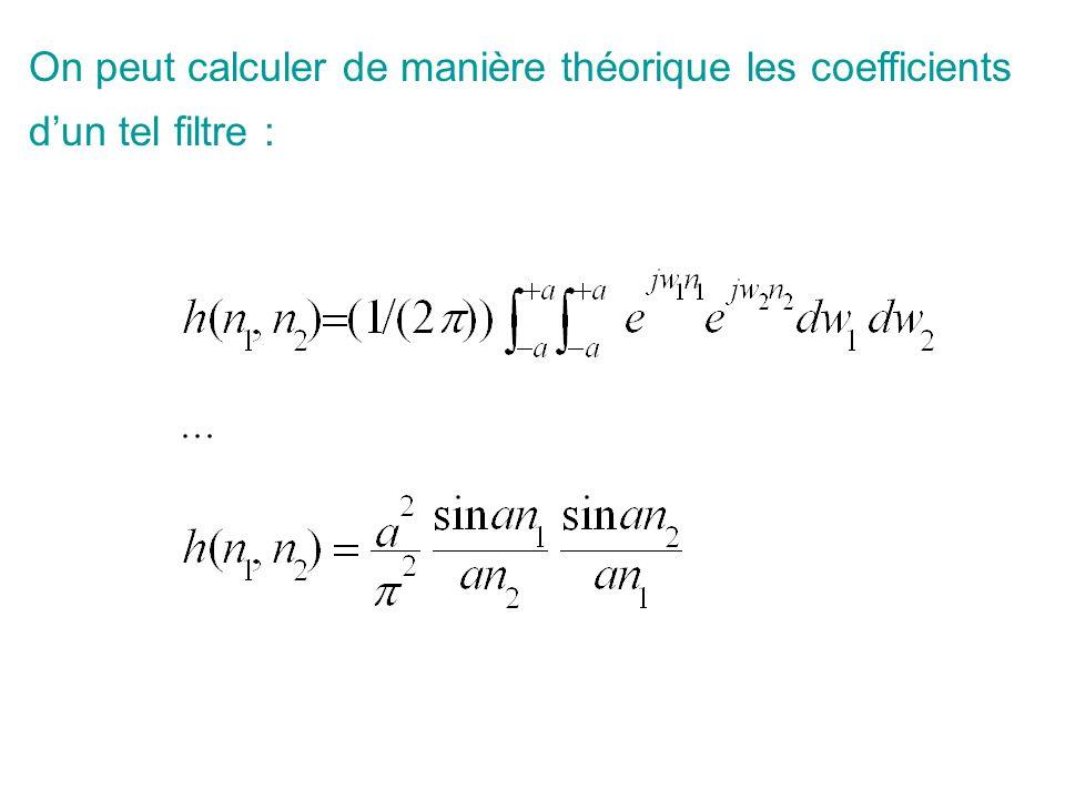On peut calculer de manière théorique les coefficients d'un tel filtre :