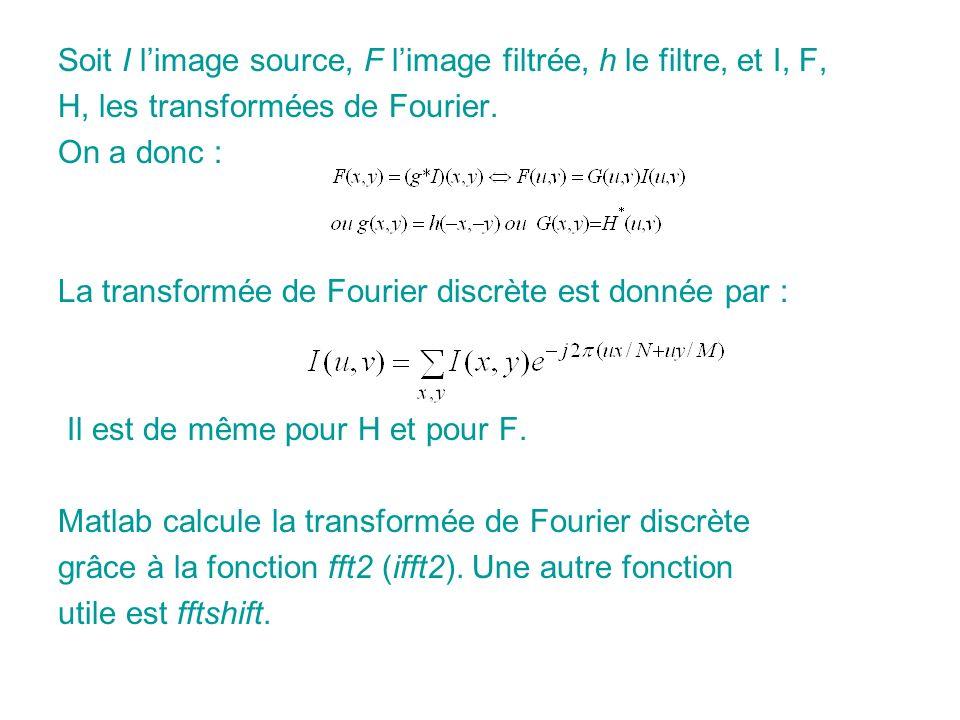 Soit I l'image source, F l'image filtrée, h le filtre, et I, F,