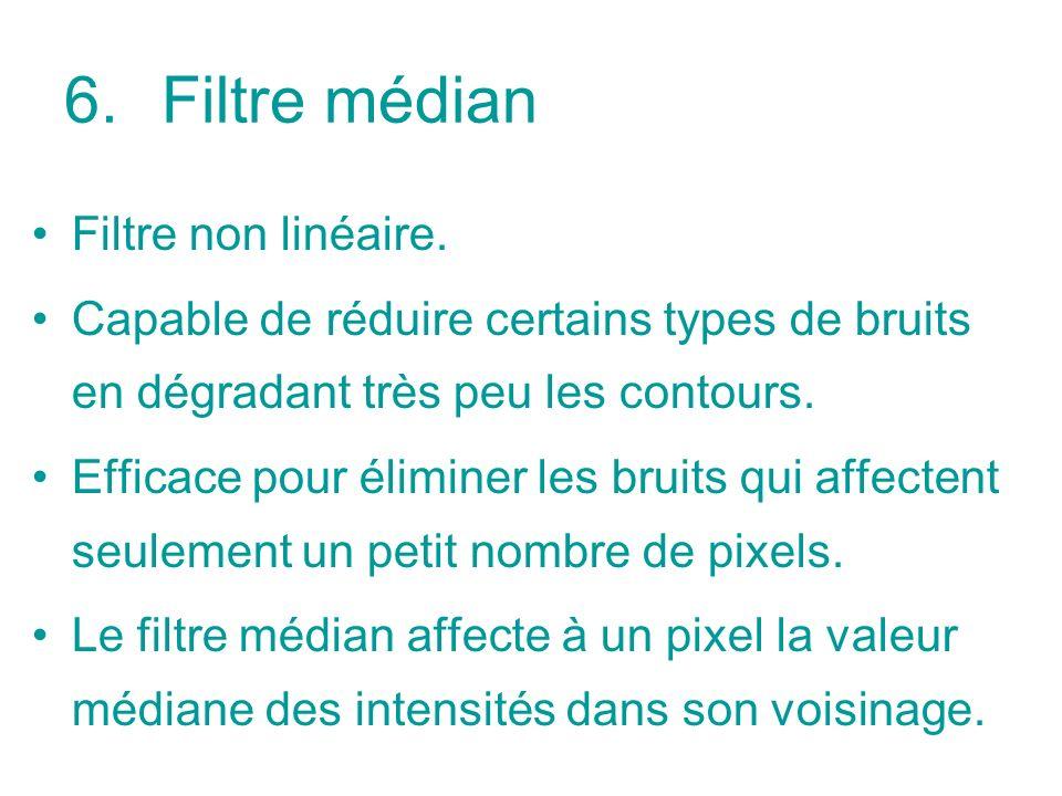 Filtre médian Filtre non linéaire.