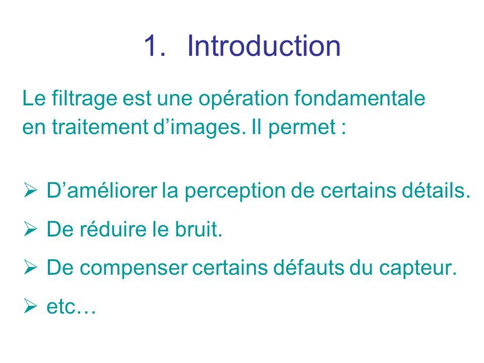 Introduction Le filtrage est une opération fondamentale