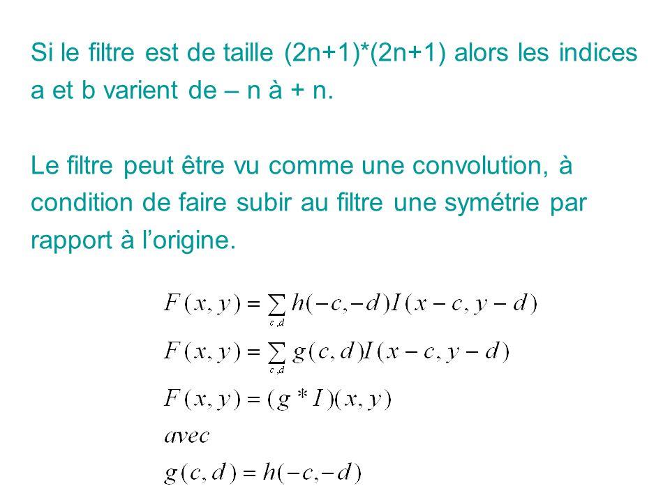 Si le filtre est de taille (2n+1)*(2n+1) alors les indices