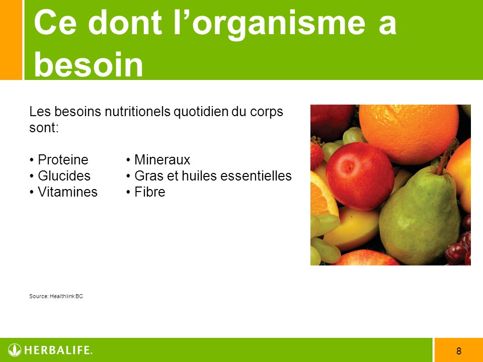 Ce dont l'organisme a besoin
