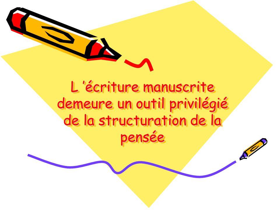L 'écriture manuscrite demeure un outil privilégié de la structuration de la pensée