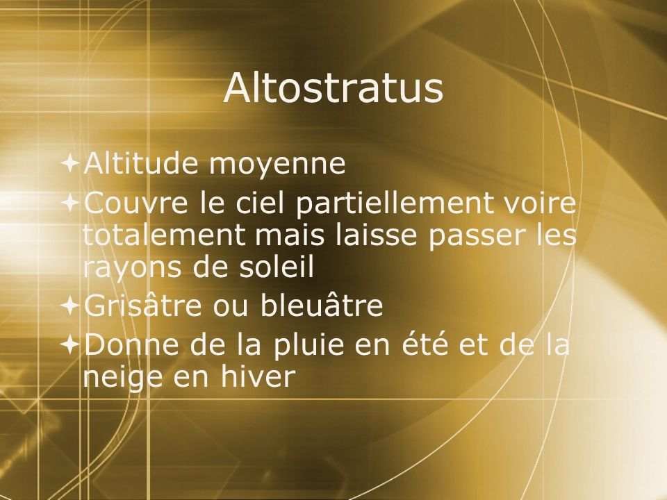 Altostratus Altitude moyenne