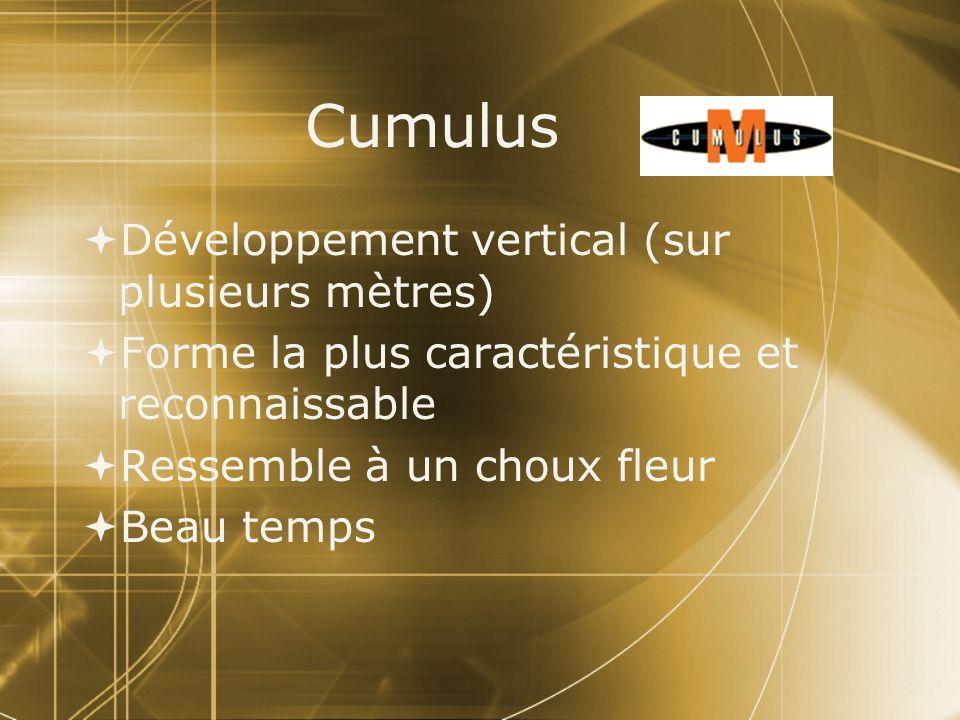 Cumulus Développement vertical (sur plusieurs mètres)