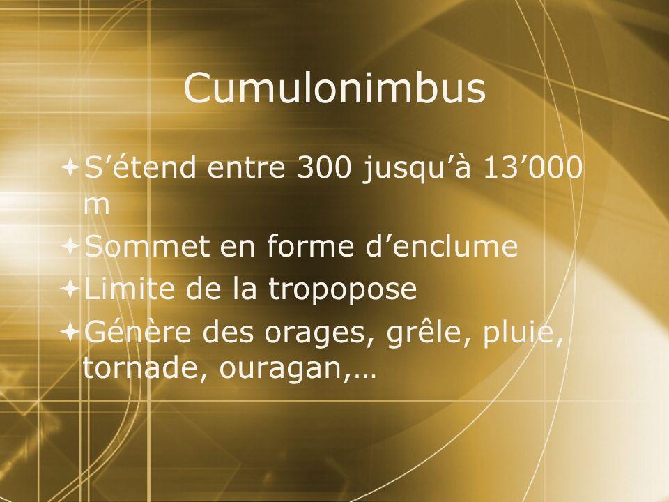 Cumulonimbus S'étend entre 300 jusqu'à 13'000 m