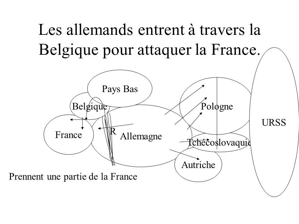 Les allemands entrent à travers la Belgique pour attaquer la France.