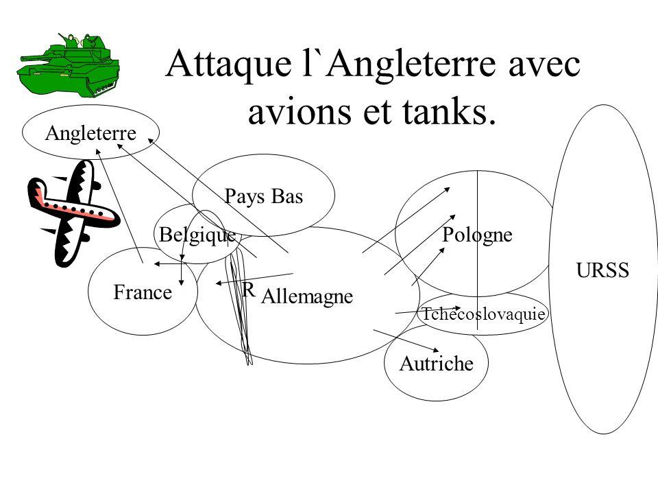 Attaque l`Angleterre avec avions et tanks.