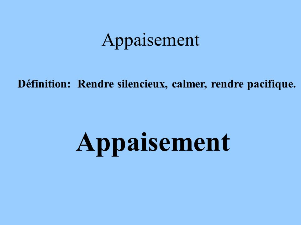 Appaisement Appaisement
