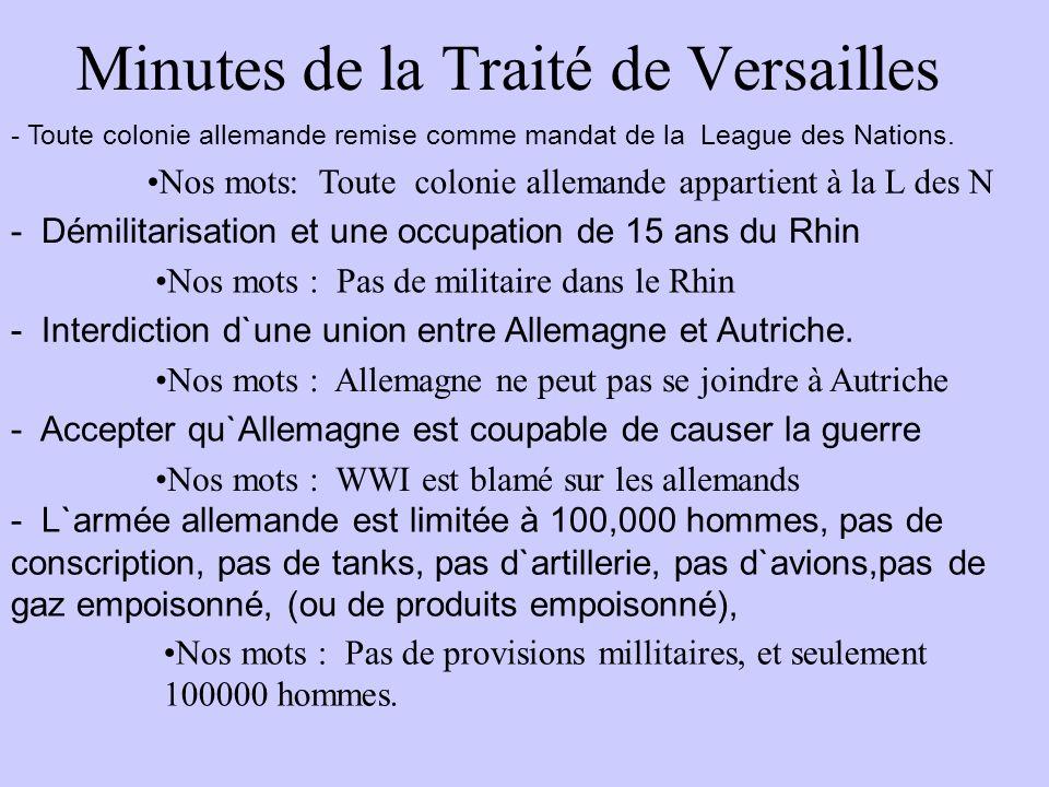 Minutes de la Traité de Versailles