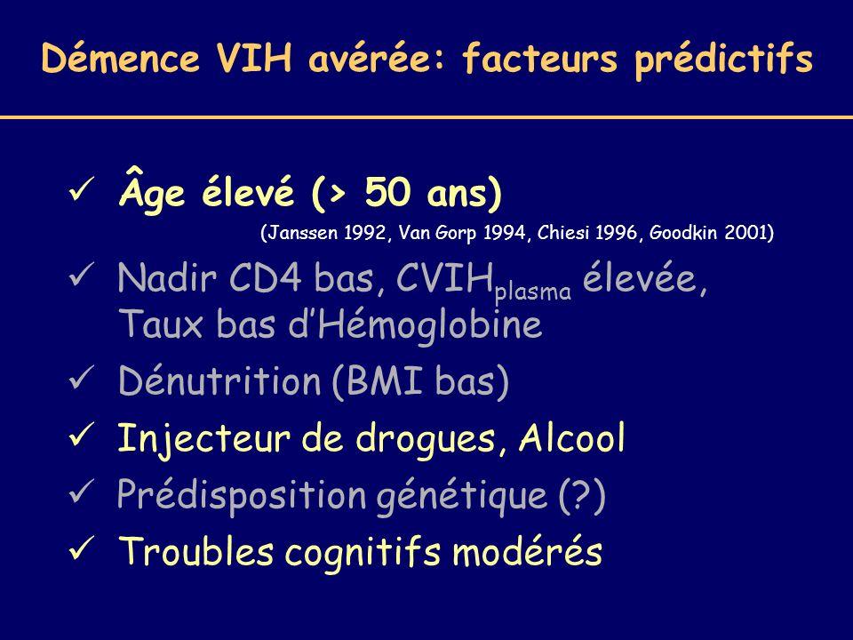 Démence VIH avérée: facteurs prédictifs