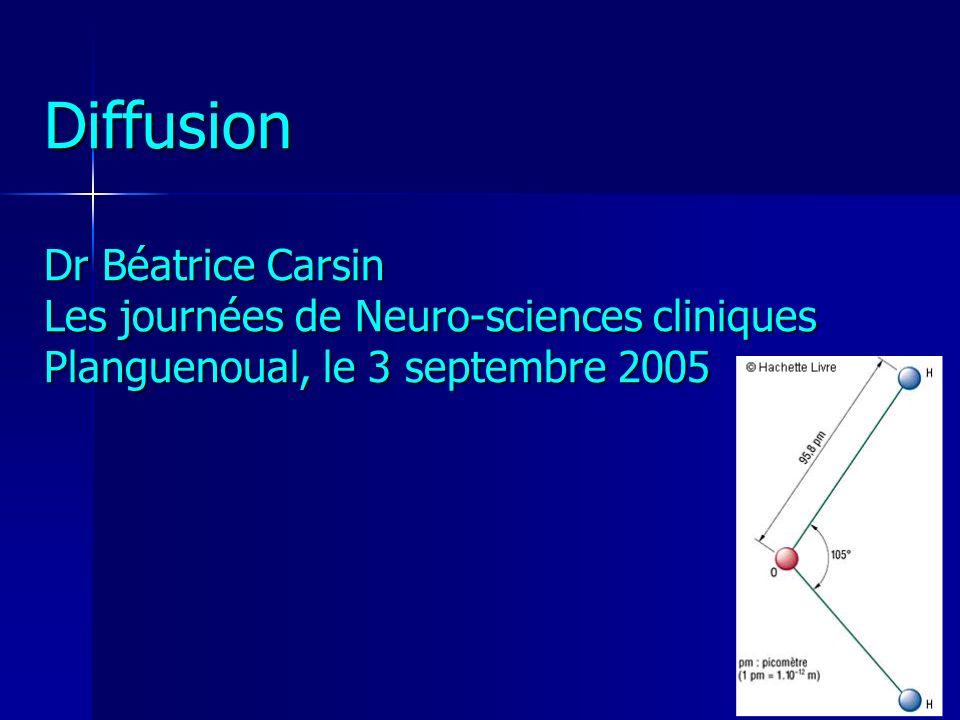 Diffusion Dr Béatrice Carsin Les journées de Neuro-sciences cliniques Planguenoual, le 3 septembre 2005