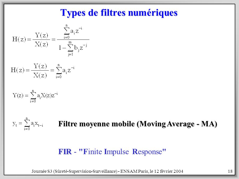 Types de filtres numériques