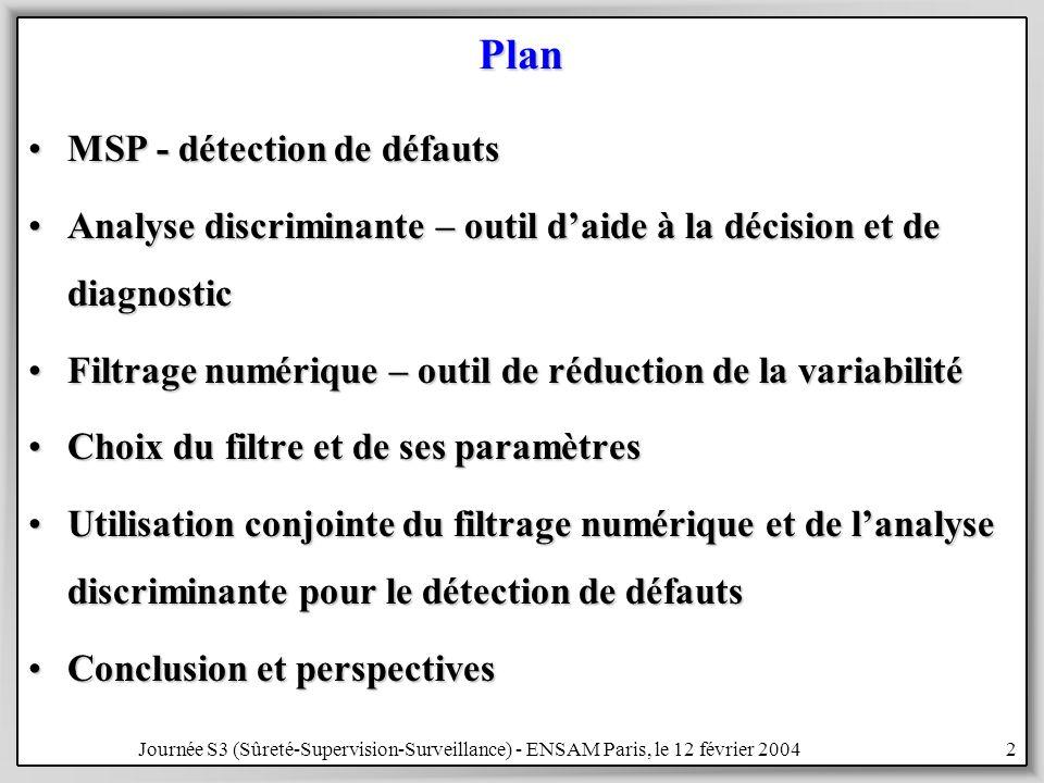 Plan MSP - détection de défauts