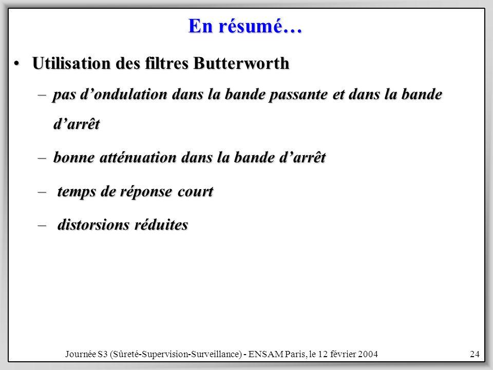 En résumé… Utilisation des filtres Butterworth