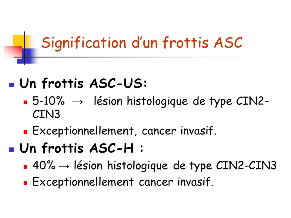 Signification d'un frottis ASC