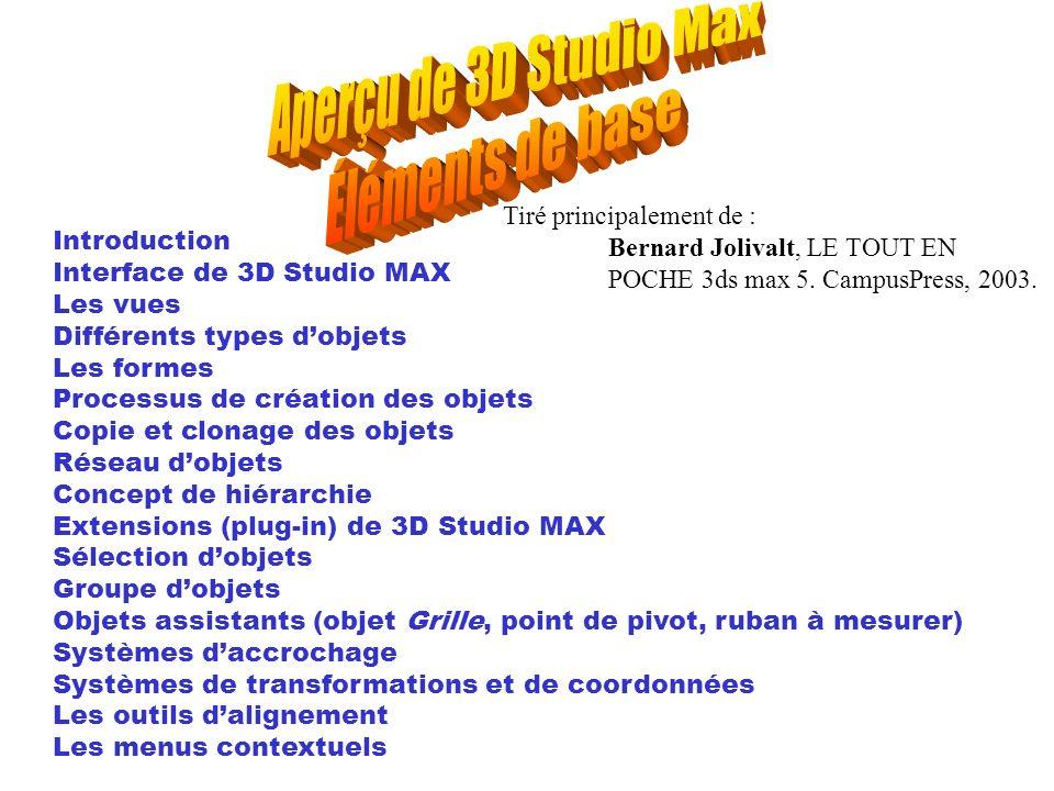 Aperçu de 3D Studio Max Éléments de base Tiré principalement de :