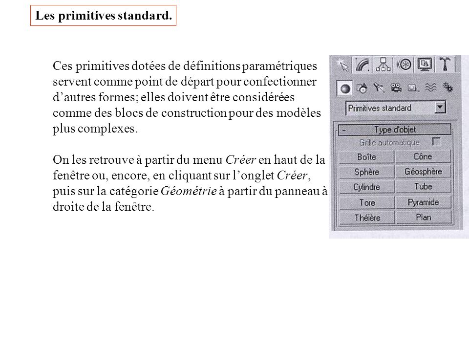 Les primitives standard.