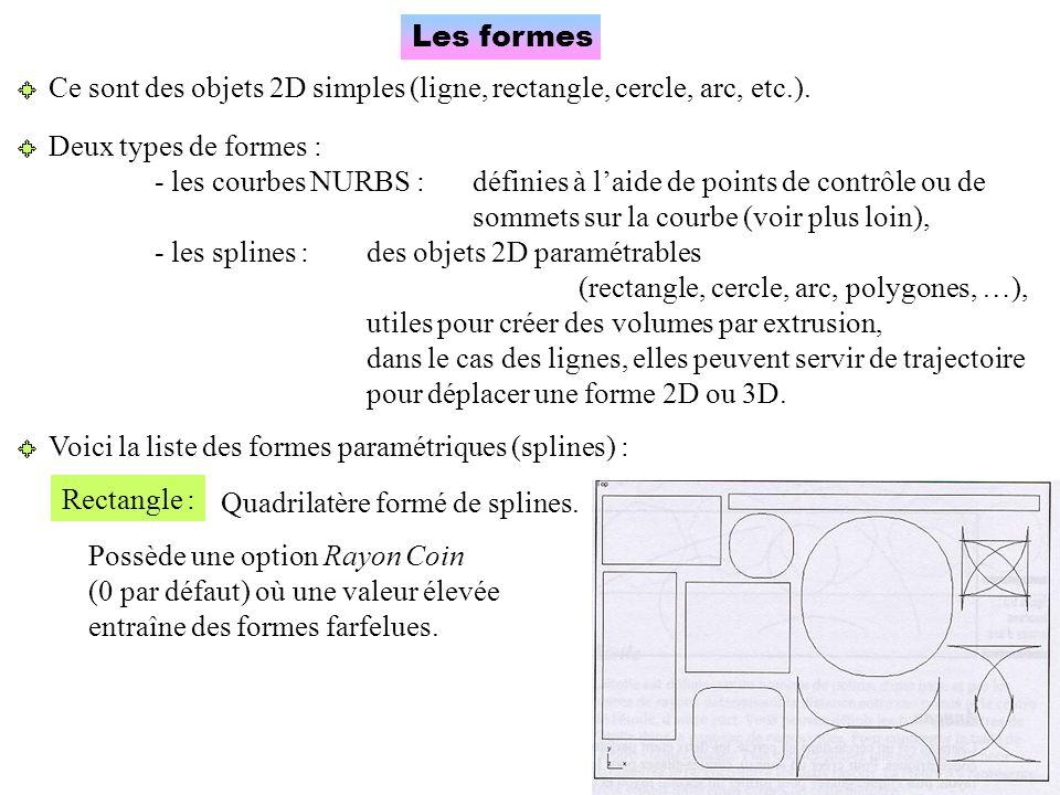 Les formes Ce sont des objets 2D simples (ligne, rectangle, cercle, arc, etc.). Deux types de formes :
