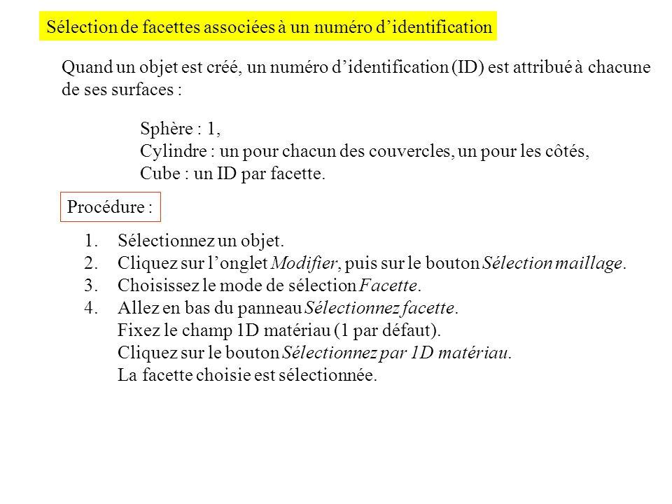 Sélection de facettes associées à un numéro d'identification