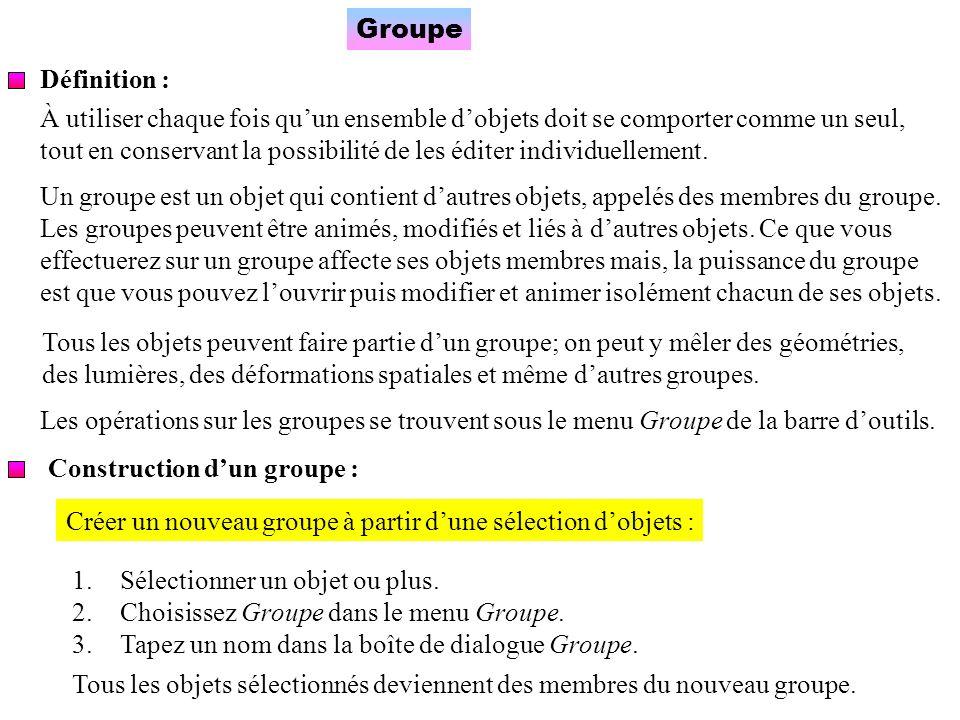 Groupe Définition : À utiliser chaque fois qu'un ensemble d'objets doit se comporter comme un seul,
