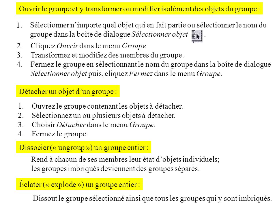 Ouvrir le groupe et y transformer ou modifier isolément des objets du groupe :