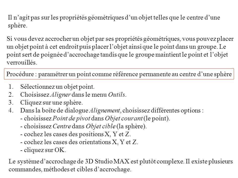 Il n'agit pas sur les propriétés géométriques d'un objet telles que le centre d'une