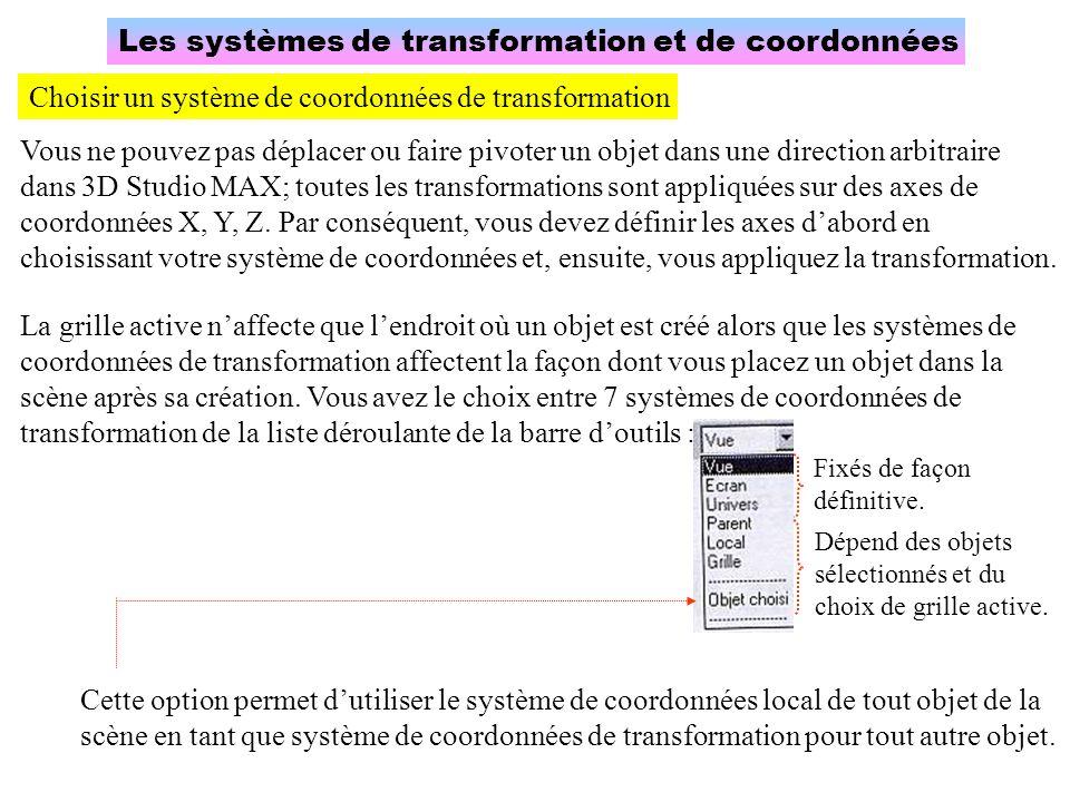 Les systèmes de transformation et de coordonnées