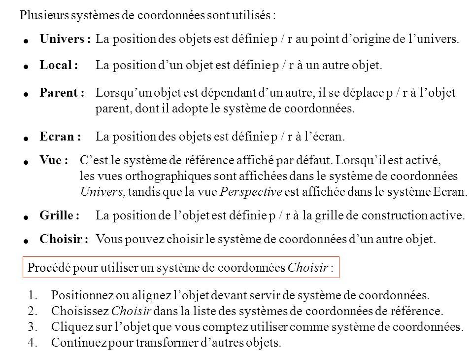 Plusieurs systèmes de coordonnées sont utilisés :
