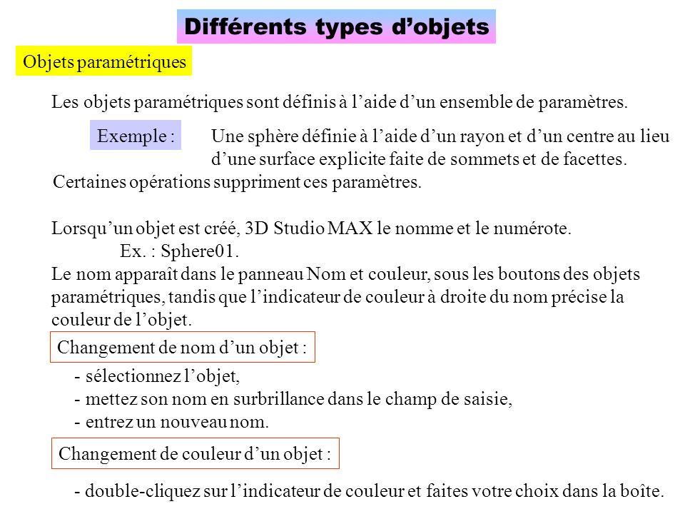 Différents types d'objets